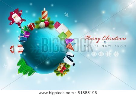 Vector Christmas world illustration. Christmas and new year greeting design template. Elements are layered separately in vector file.