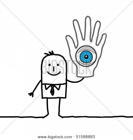 man with big eye in his hand