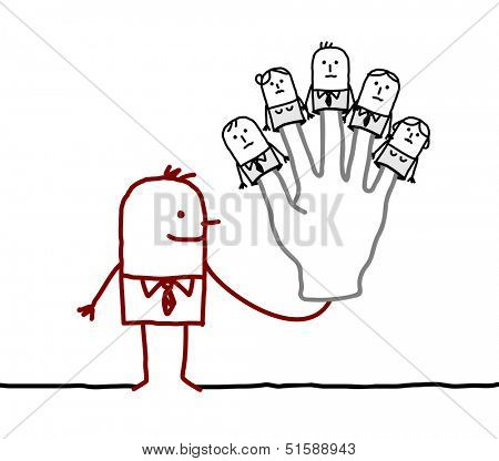 boss with five puppets employees on fingers