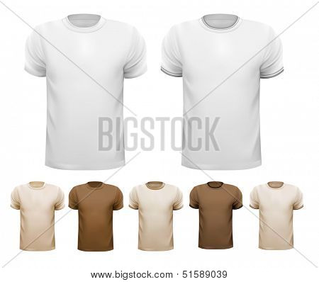 Set of white and colorful male shirts. Vector.