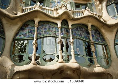 BARCELONA - MAY 8: Casa Mila on May 8, 2013 in Barcelona, Spain. This famous building was designed b