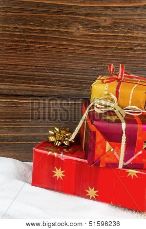 several parcels of gifts for christmas are superimposed