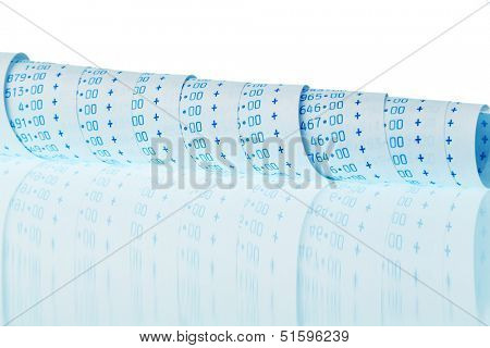 the computational stripes of a calculator on a white background. symbolic photo for controlling, accounting, taxation and finance