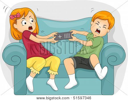 Illustration of Sibling Fighting Over the Remote Control