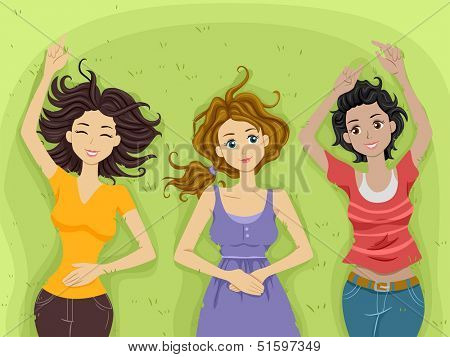Illustration of Teenage Girls Contentedly Lying on a Stretch of Grass