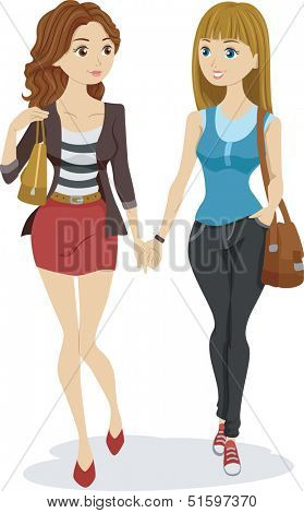 Illustration of a Teenage Lesbian Couple Holding Hands While Walking