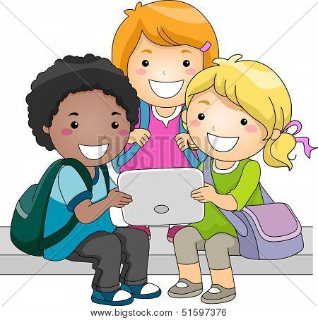 Illustration of a Group of Kids Checking a Computer Tablet Together