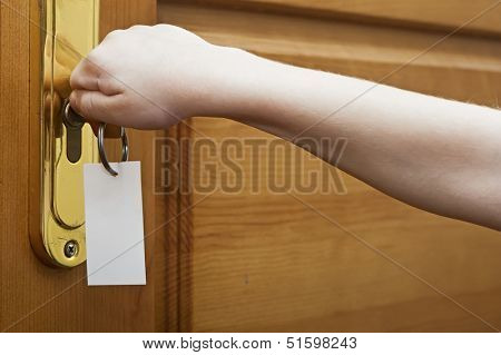 Children hand are unlocked door