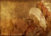 stock photo of indian chief  - Native American Culture Background - JPG