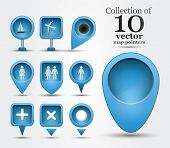 pic of ten  - Collection of ten different shaped map pointers for navigational purposes or marking points of interests - JPG