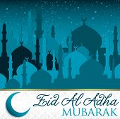 image of eid al adha  - City of Mosque Eid Al Adha card in vector format - JPG
