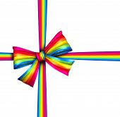 foto of end rainbow  - Rainbow gift ribbon bow as a silk present with  - JPG