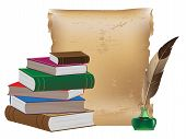 image of inkpot  - Pile of old books ancient manuscript inkwell and feather - JPG