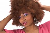 image of afro hair  - beautiful black woman with afro hair - JPG
