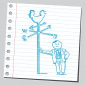 pic of wind-vane  - Businessman with weather vane - JPG