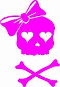 stock photo of skull cross bones  - Vector illustration of a Girl Skull with Hair Bow and Cross Bones - JPG