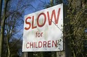 Slow For Children Sign poster