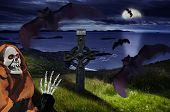 foto of drakula  - the Halloween dark night with bats and skeleton