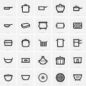 picture of tagine  - Set of Kitchenware icons on light grey background - JPG