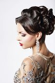 foto of opulence  - Profile of Classy Brown Hair Lady with Jewelry and Festive Hairstyle - JPG