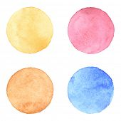 Watercolor circles collection. Watercolor stains set isolated on white background. Watercolor palett