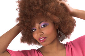 stock photo of afro hair  - beautiful black woman with afro hair - JPG