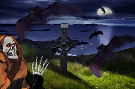 picture of drakula  - the Halloween dark night with bats and skeleton