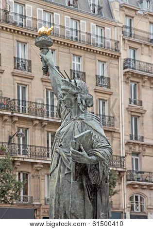 Statue of Liberty, a replica in a street of Paris (France)