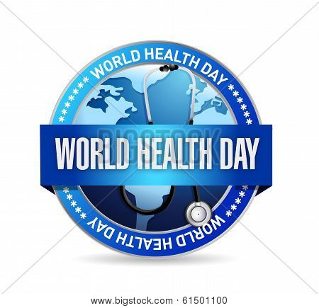 World Health Day Blue Seal Illustration Design