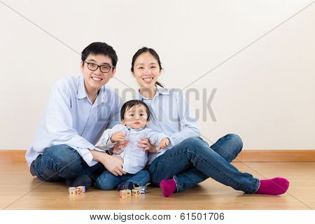 Asia family play together at home