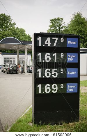 A Sign With Gas Prices
