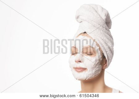 Relaxed Woman In A Face Mask