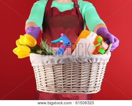 Housewife holding basket with cleaning equipment on color background. Conceptual photo of spring cleaning.