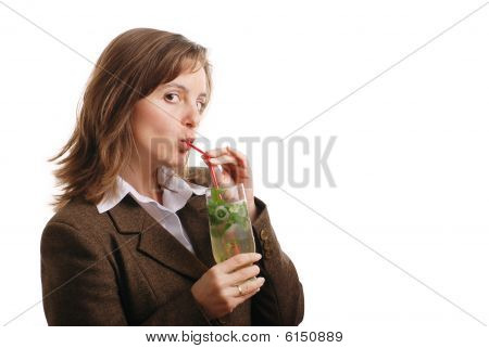Isolated Business Woman Drinking Mojito