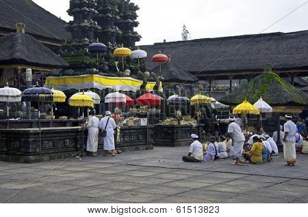 Balinese pilgrims at Mother Temple in Besakih on January 06., 2014. in Bali, Indonesia