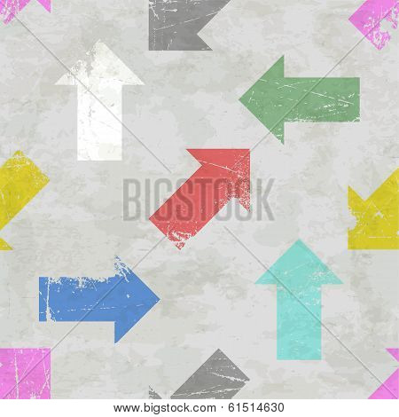 Seamless pattern with scratched colorful arrows