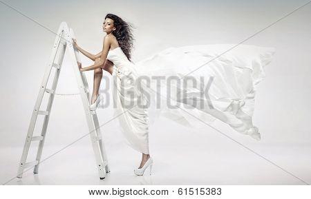 Woman on Steps Ladder
