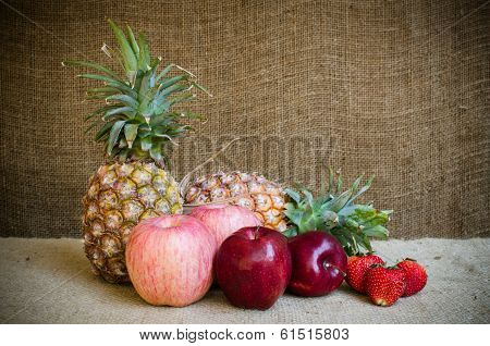 Pine Apple Strawberries And Apple