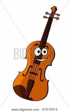 Smiling happy wooden violin