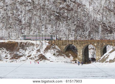 Rail bus on Circum-Baikal Railway in winter