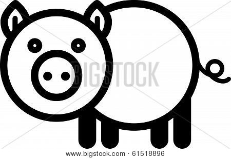 Cute animal pig - illustration