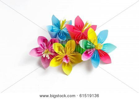 Many Colored Paper Flowers And Flower With Varicolored Petals