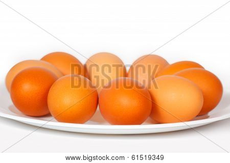 Colored eggs on a plate
