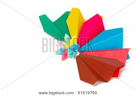 Many Colored Paper Panes And Flower