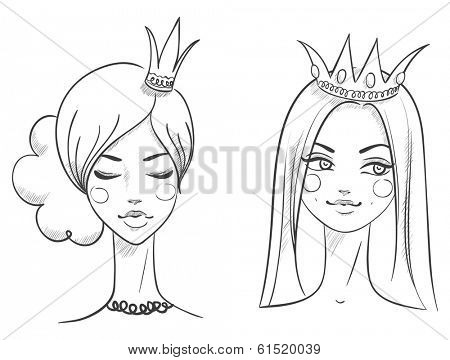 Princess. Sketches style. Vector illustration