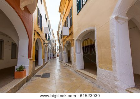 Ciutadella Menorca Ses Voltes arches Ciudadela downtown in Balearic islands