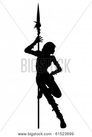 Striptease Silhouette Of Warrior Woman