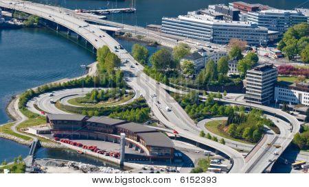 Highway / Freeway Interchange In Bergen, Norway