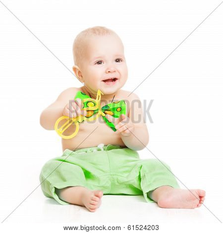 Baby Happy Smiling, Smal Child Boy In Green Bow Tie Sitting Over White Background