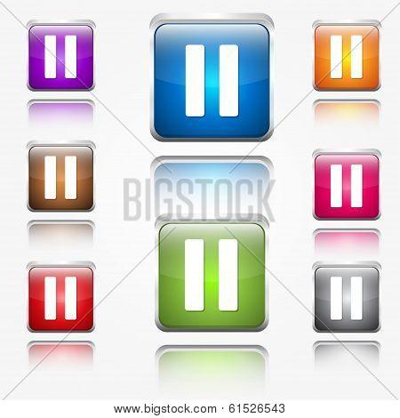 Pause Sign Round Corner Vector Web Icon Button Set